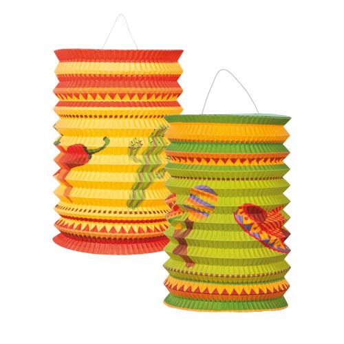 Assorted Fiesta Hanging Paper Lanterns 16cm - Pack of 2