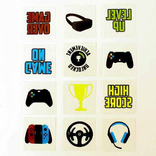 Assorted Gamer Mini Tattoo Stickers - Pack of 12