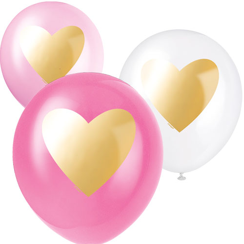 Assorted Gold Heart Valentines Biodegradable Latex Balloons 30cm / 12Inch - Pack of 6 Product Image