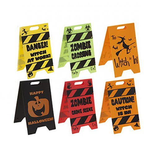 Assorted Halloween Caution Signs Table Top Decorations - Pack of 2