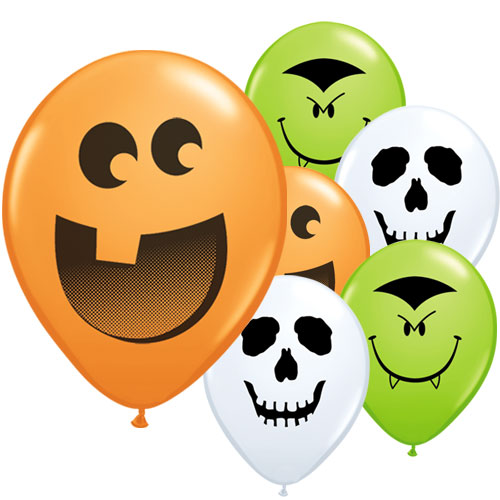 Assorted Halloween Faces Round Mini Latex Qualatex Balloons 13cm / 5 in - Pack of 100 Product Image