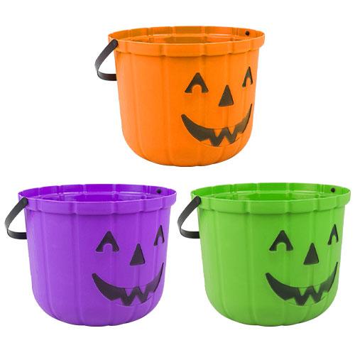 Assorted Halloween Pumpkin Bucket 17cm