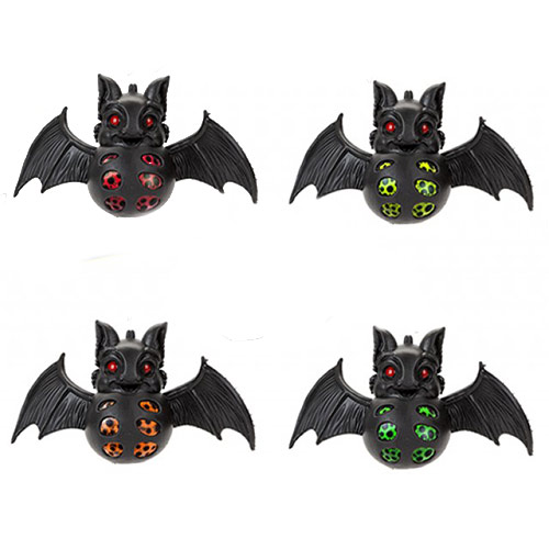 Assorted Halloween Stress Relief Squishy Squeeze Bat Toy With Beads 7cm