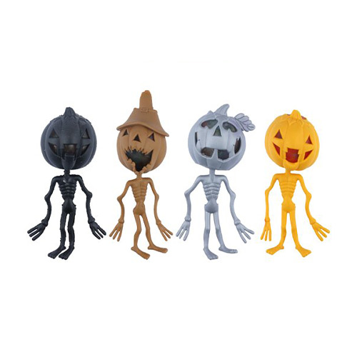 Assorted Halloween Stress Relief Squishy Squeeze Pumpkin Skeleton Toy With Beads 14cm