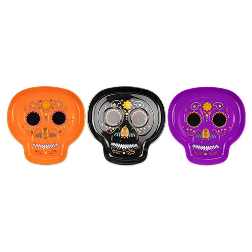 Assorted Halloween Sugar Skull Shaped Reusable Plastic Tray 28cm Product Image