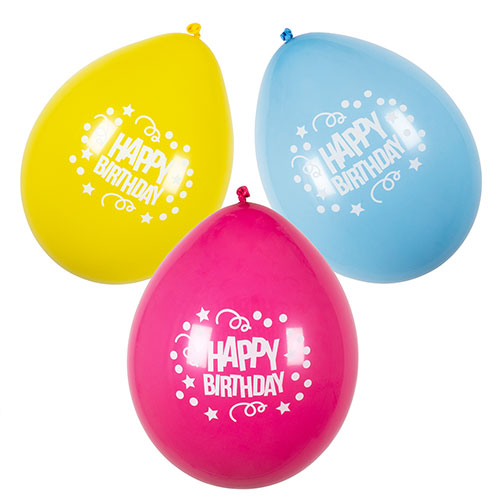 Assorted Happy Birthday Air Fill Latex Balloons 25cm / 10 in - Pack of 6 Product Image