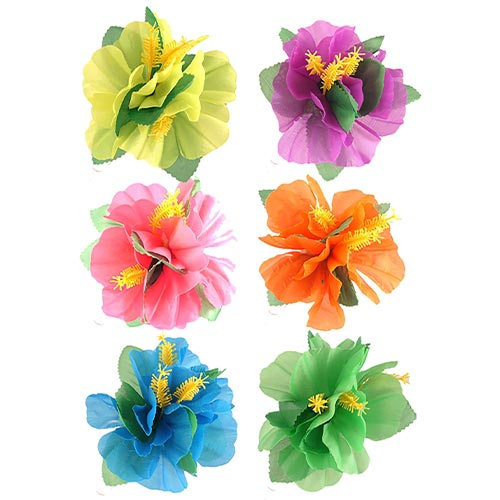 Assorted Hibiscus Flower Hair Clip Fancy Dress