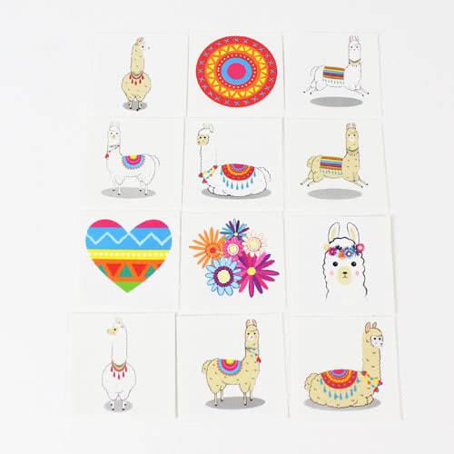 Assorted Llama Mini Tattoo Stickers - Pack of 12