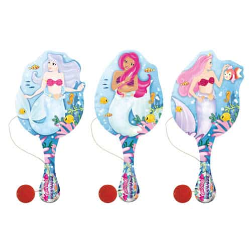 Assorted Mermaid Wooden Paddle Bat With Ball 22cm Product Image