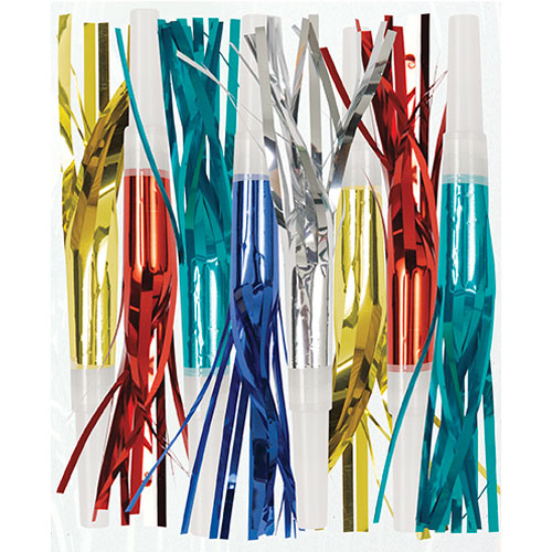 Assorted Metallic Fringe Squawkers Blowouts - Pack of 8