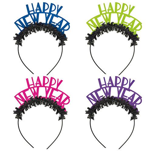 Assorted Neon New Year Fancy Dress Headbands - Pack of 4