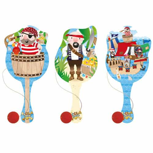Assorted Pirate Wooden Paddle Bat With Ball 22cm