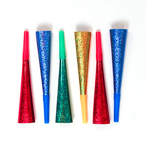Assorted Prismatic New Year Horns - Pack of 6 Product Image