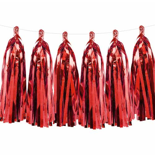 Assorted Foil Tassel Christmas Garland 150cm Product Gallery Image