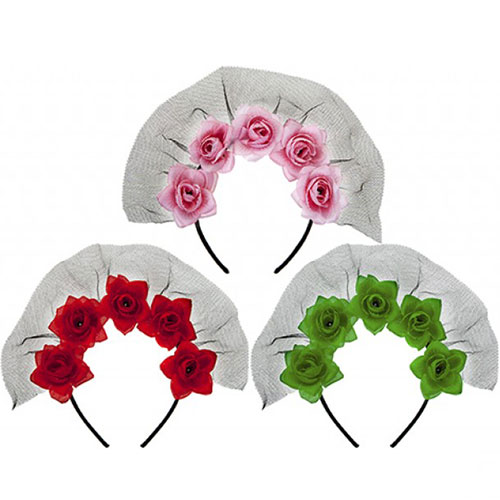 Assorted Roses and Veil Headband Halloween Fancy Dress Product Image