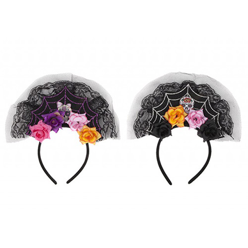 Assorted Roses Day of the Dead Headband Halloween Fancy Dress  Product Image