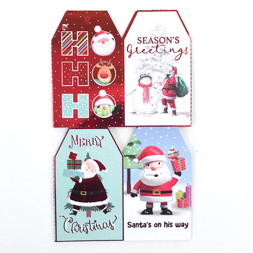 Assorted Metallic Santa & Friends Christmas Gift Tags - Pack of 20 Product Image