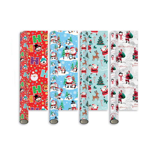Assorted Santa & Friends Christmas Gift Wrapping Paper 5m - Pack of 4 Product Image