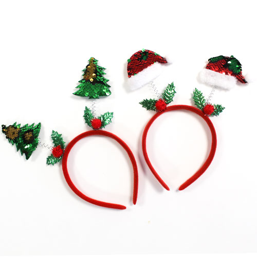 Assorted Sequin Christmas Icons Headband Fancy Dress Product Image