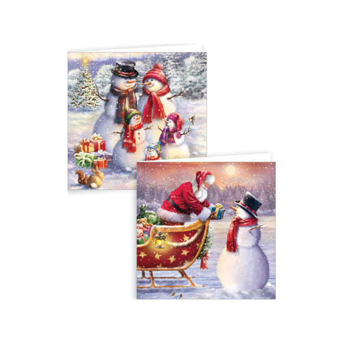 Assorted Glitter Snowmen & Santa Christmas Cards with Envelopes 15cm - Pack of 12 Product Image
