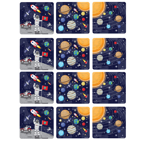 Assorted Space Jigsaw Puzzle - Pack of 12