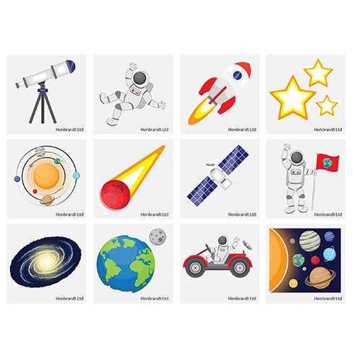 Assorted Space Mini Tattoo Stickers - Pack of 12