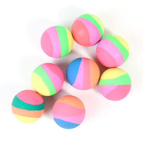 Assorted Stripes Party Bounce Balls - Pack of 8