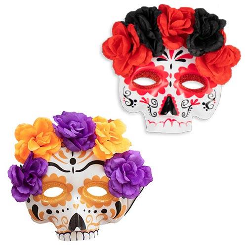 Assorted Sugar Skull Halloween Plastic Face Mask 19cm Product Image