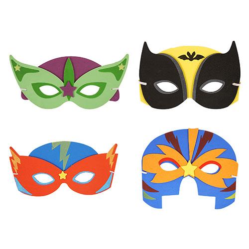 Assorted Superhero Foam Masks - Pack of 4