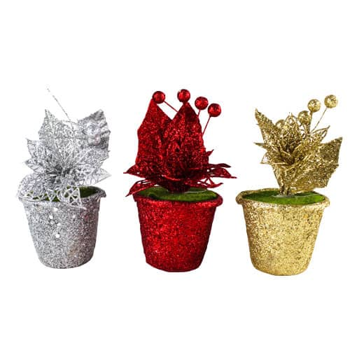 Assorted Christmas Glitter Poinsettia in Pots 15cm Product Image