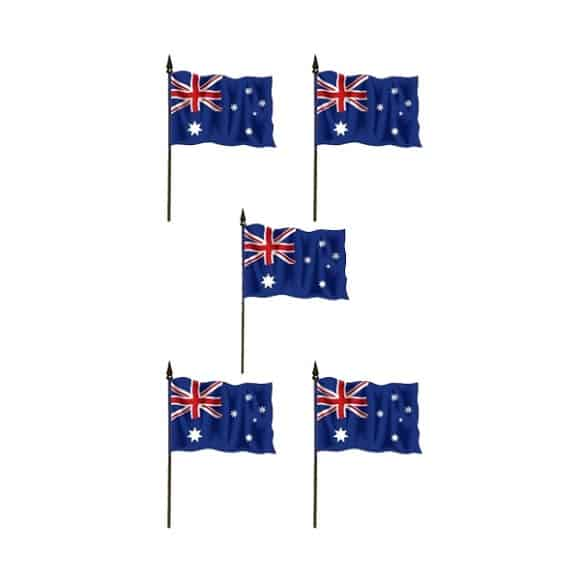 Australian Hand-held Cloth Flag - 6 x 4 Inches / 15 x 10cm - Pack of 12