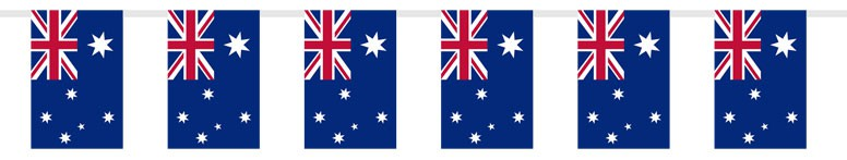 Australian Plastic Flag Bunting - 14 Ft / 426cm - 15 Flags