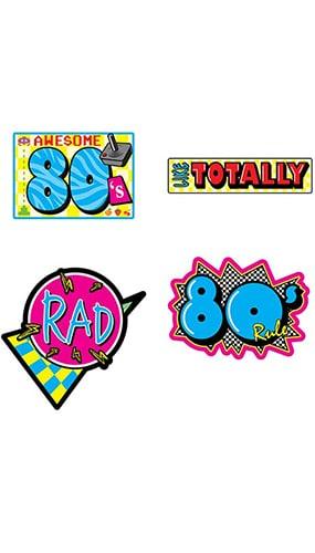 Awesome Retro 80's Decorative Cutouts - Pack of 4 Product Image