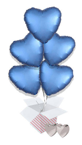 Azure Blue Satin Luxe Heart Foil Helium Valentine's Day Balloon Bouquet - 5 Inflated Balloons In A Box Product Image