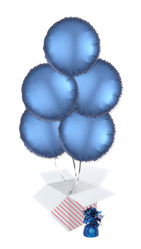 Azure Blue Satin Luxe Round Foil Helium Balloon Bouquet - 5 Inflated Balloons In A Box Product Image