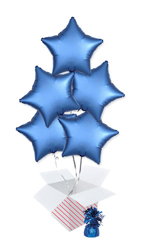Azure Blue Satin Luxe Star Foil Helium Balloon Bouquet - 5 Inflated Balloons In A Box Product Image