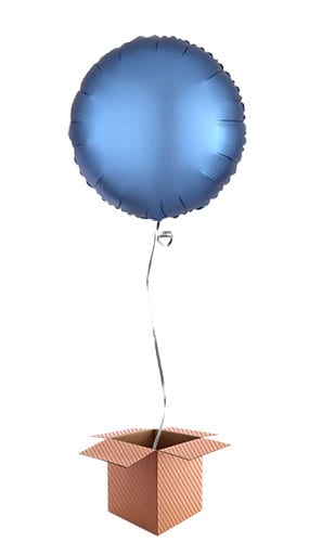 Azure Blue Satin Luxe Round Foil Helium Balloon - Inflated Balloon in a Box Product Image