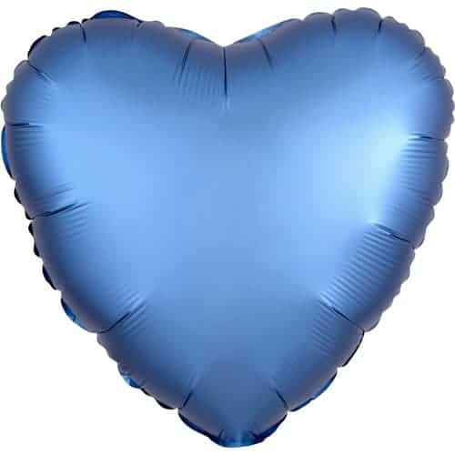Azure Blue Satin Luxe Heart Foil Helium Balloon 43cm / 17Inch Product Image