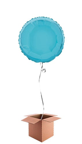 Baby Blue Round Foil Balloon - Inflated Balloon in a Box Product Image
