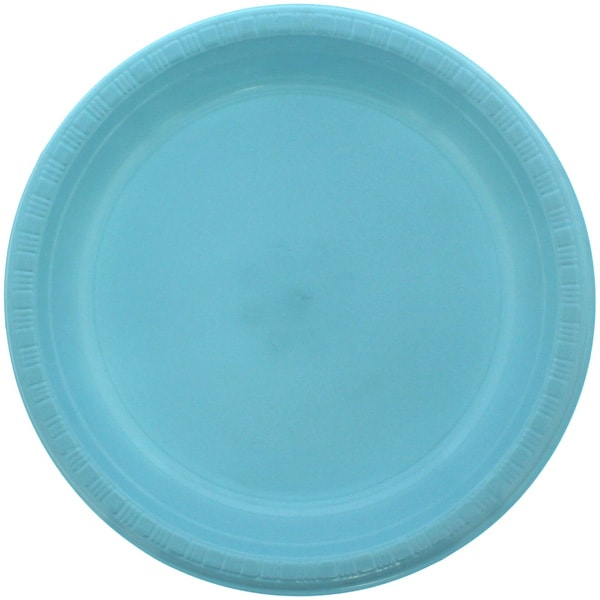 Baby Blue Round Plastic Plates 23cm - Pack of 20 Product Image
