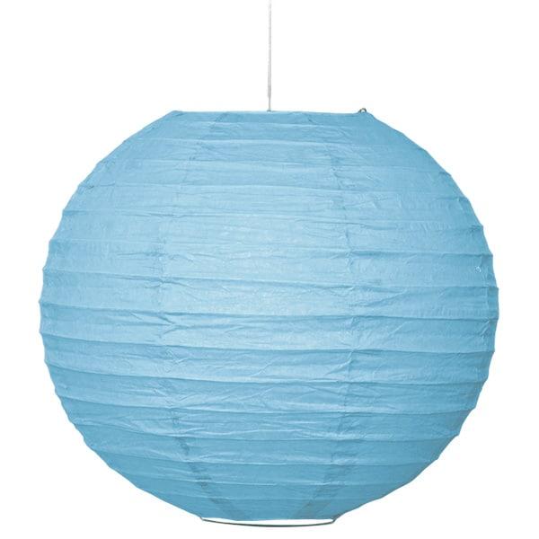 Powder Blue Hanging Round Paper Lantern 25cm Product Image