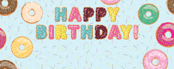 Baby Blue Happy Birthday Donuts Design Medium Personalised Banner - 6ft x 2.25ft