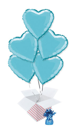 Baby Blue Heart Foil Helium Balloon Bouquet - 5 Inflated Balloons In A Box Product Image