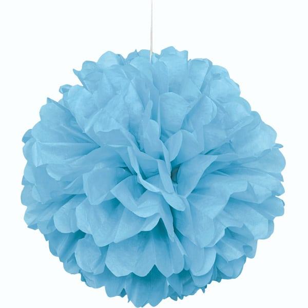 Powder Blue Honeycomb Hanging Decoration Puff Ball 40cm Product Image