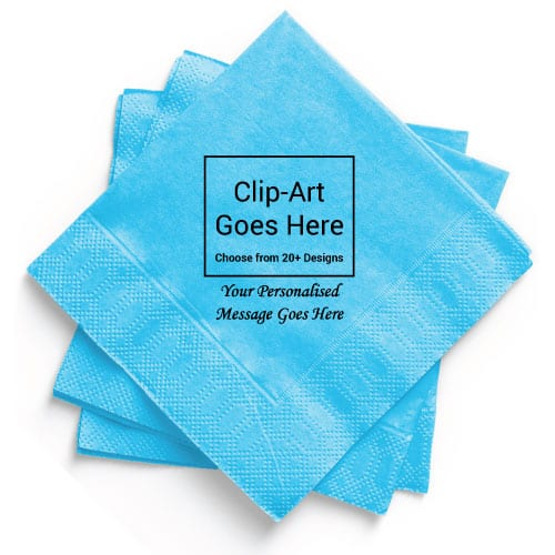 Baby-Blue Personalised Napkin - Pack of 50