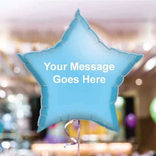 Personalised Baby-Blue Star Foil Balloon - Pack of 10