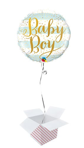 Baby Boy Blue Stripes Round Foil Helium Qualatex Balloon - Inflated Balloon in a Box Product Image