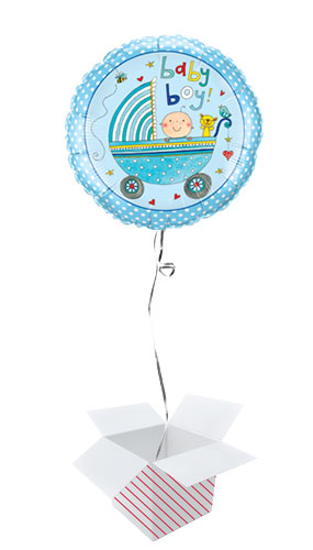 Baby Boy Stroller Round Foil Helium Qualatex Balloon - Inflated Balloon in a Box Product Image