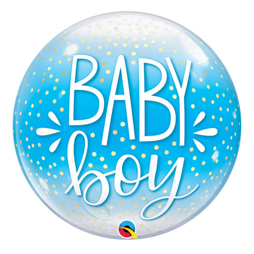 Baby Boy Confetti Dots Baby Shower Bubble Helium Qualatex Balloon 56cm / 22 in Product Image