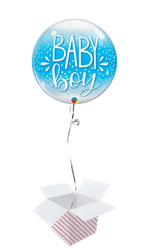 Baby Boy Confetti Dots Baby Shower Bubble Helium Qualatex Balloon - Inflated Balloon in a Box Product Image